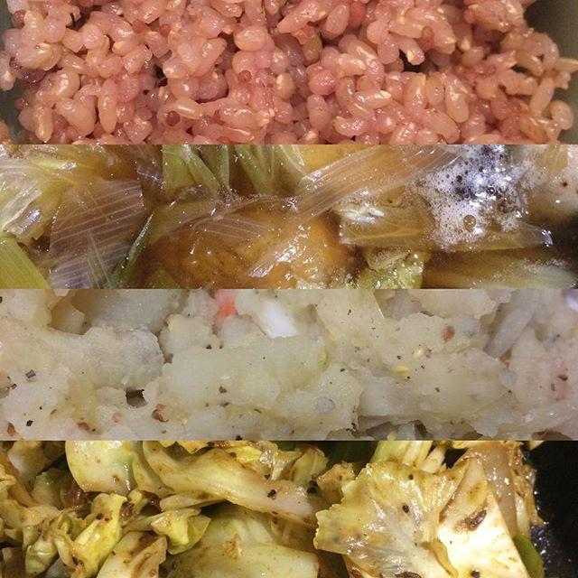 雑穀入り玄米飯、小芋とネギと白菜のタイタン、自家製ピクルスみじん切りと、粒マスタードたっぷりのポテサラ、キャベツと玉ねぎのカレー炒め。