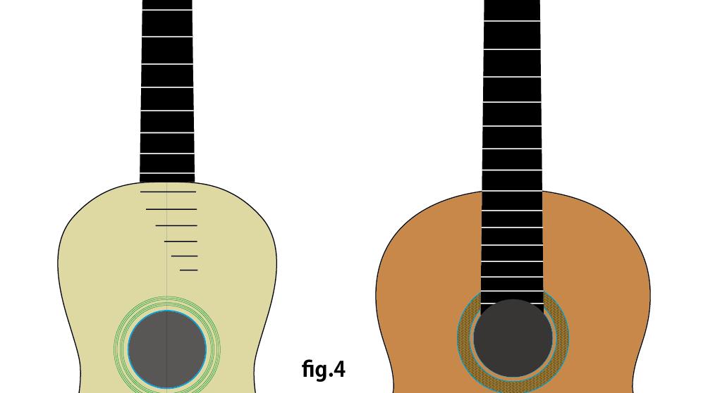 図解イラスト fig.4 ボディと指板の接合の違い